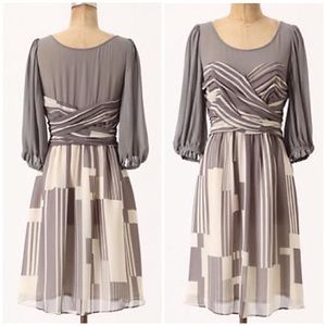NWT Moulinette Seours Silk Dusky Striation Dress 0